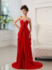 Traditional Chiffon Spaghetti Straps Sleeveless Brush Train Zipper Beading and Ruching Pageant Dress Womens in Red