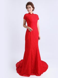 Red Custom Made Pageant Dress Prom and Party with Lace High-neck Cap Sleeves Brush Train Backless
