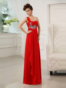 Spectacular One Shoulder Red Sleeveless Chiffon Zipper Custom Made Pageant Dress for Prom and Party