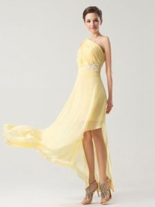 Noble Light Yellow Side Zipper One Shoulder Beading and Ruching Pageant Dress for Girls Chiffon Sleeveless