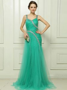 With Train Column/Sheath Sleeveless Turquoise Pageant Dress for Teens Brush Train Side Zipper