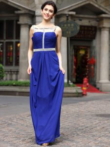 Lovely Royal Blue Square Neckline Beading Custom Made Pageant Dress Sleeveless Zipper