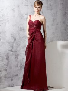 Inexpensive One Shoulder Burgundy Sleeveless Beading and Ruching Floor Length High School Pageant Dress