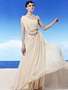 One Shoulder Champagne Sleeveless Chiffon Side Zipper Pageant Dress for Girls for Prom and Party