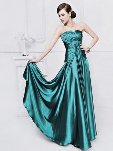 Teal Sleeveless Floor Length Ruching Lace Up Evening Gowns