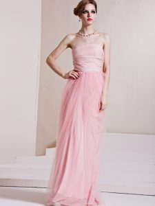 Floor Length Baby Pink Pageant Dress Wholesale Strapless Sleeveless Side Zipper