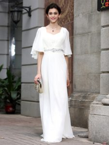 White Zipper Square Beading Pageant Gowns Chiffon Half Sleeves