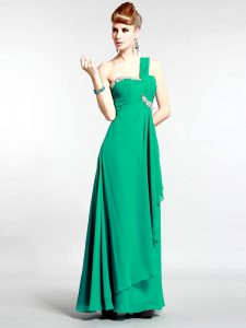Custom Fit One Shoulder Beading Pageant Dress Wholesale Green Zipper Sleeveless Floor Length