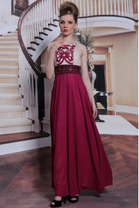 Sleeveless Chiffon Floor Length Side Zipper Pageant Dress Wholesale in Burgundy with Beading and Appliques