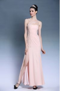 Elegant Baby Pink Bateau Neckline Appliques Evening Gowns Sleeveless Side Zipper