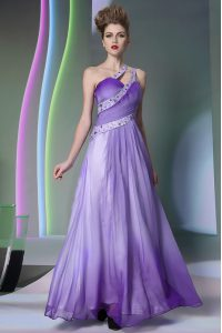 Best Selling One Shoulder Sleeveless Chiffon Pageant Gowns Beading and Ruching Side Zipper