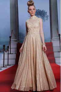 Sleeveless Floor Length Beading and Sequins Zipper Pageant Dress Wholesale with Peach