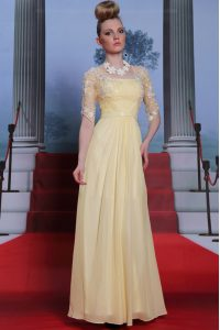 Latest Light Yellow Chiffon Zipper Spaghetti Straps Half Sleeves Floor Length Pageant Gowns Lace and Ruching
