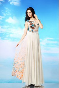 Scoop Ankle Length White Evening Gowns Chiffon Sleeveless Appliques and Ruching and Pattern
