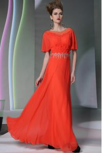 Scoop Short Sleeves Evening Gowns Ankle Length Appliques Coral Red Chiffon