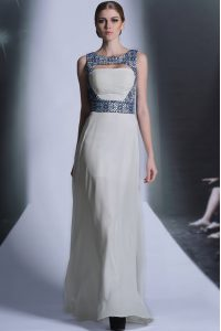 White Chiffon Zipper Pageant Dress for Girls Sleeveless Floor Length Embroidery