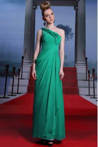 Empire Custom Made Pageant Dress Turquoise One Shoulder Chiffon Sleeveless Floor Length Side Zipper