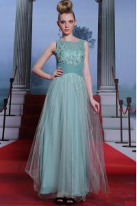 Elegant Floor Length Side Zipper Pageant Dress for Womens Light Blue for Prom and Party with Beading and Appliques and Ruching