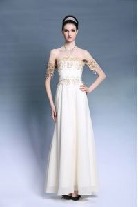 On Sale Empire Evening Gowns White Off The Shoulder Satin Short Sleeves Floor Length Zipper