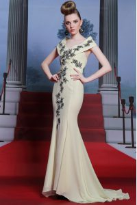 Modern Light Yellow Mermaid V-neck Cap Sleeves Chiffon With Brush Train Side Zipper Embroidery Pageant Dress for Womens