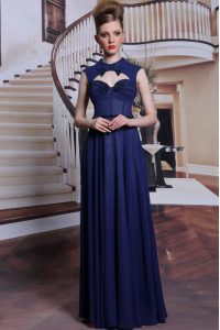 Floor Length Navy Blue Pageant Dress Toddler High-neck Sleeveless Zipper