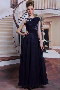 Captivating Sleeveless Floor Length Lace Side Zipper High School Pageant Dress with Navy Blue