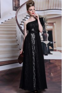 One Shoulder Black Sleeveless Lace and Sequins Floor Length Pageant Dress for Girls