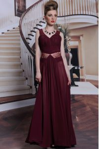 Burgundy Straps Neckline Beading and Ruching Pageant Gowns Sleeveless Zipper