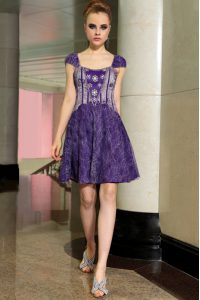Perfect Lace Purple Zipper Pageant Dress Toddler Beading Sleeveless Mini Length
