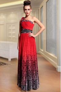 Amazing One Shoulder Red Column/Sheath Beading and Pattern and Pleated Pageant Dress for Teens Side Zipper Chiffon Sleeveless Floor Length
