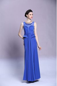 Scoop Sleeveless Chiffon Pageant Dress Beading and Appliques Zipper
