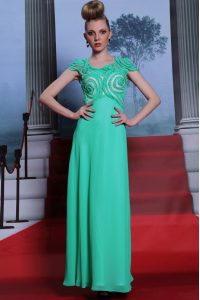 Green Pageant Dress Toddler Prom and Party with Appliques Scoop Cap Sleeves Side Zipper