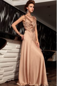 Gorgeous Brown Empire V-neck Sleeveless Satin Floor Length Backless Beading and Ruching Pageant Gowns