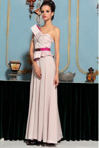 Pink Sleeveless Pattern Floor Length Pageant Dresses