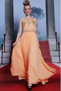 Fitting Orange Empire Beading and Appliques Pageant Dress Toddler Side Zipper Chiffon Sleeveless Floor Length