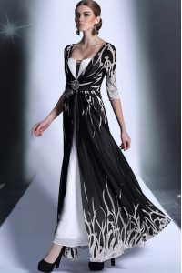 Black Half Sleeves Chiffon Zipper Pageant Dress for Girls for Prom and Party