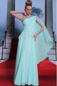 High End One Shoulder Sleeveless Side Zipper Floor Length Lace and Ruching Pageant Dress for Teens