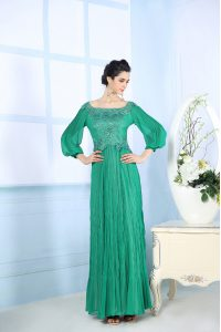 Elegant Square 3 4 Length Sleeve Zipper Pageant Dress Womens Green Chiffon