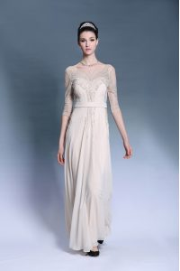 Champagne Bateau Neckline Beading and Pleated Pageant Dress Short Sleeves Zipper