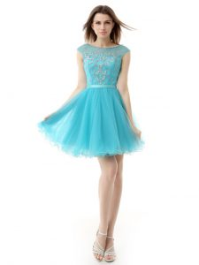 Aqua Blue Zipper Pageant Dress for Teens Beading Sleeveless Knee Length