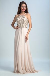 Pink Backless Winning Pageant Gowns Sequins Sleeveless Floor Length