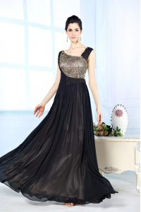 Sleeveless Chiffon Floor Length Side Zipper Pageant Dress for Teens in Black with Beading