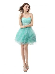 Turquoise Evening Gowns Prom and Party with Beading and Ruffled Layers Sweetheart Sleeveless Zipper