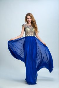 Royal Blue Column/Sheath Chiffon Bateau Cap Sleeves Beading Floor Length Zipper Glitz Pageant Dress