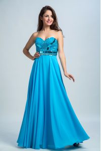 Baby Blue Column/Sheath Sweetheart Sleeveless Chiffon Floor Length Zipper Beading Pageant Dress Wholesale