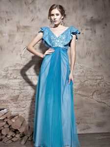Teal Tulle Zipper Pageant Dress for Womens Cap Sleeves Floor Length Sequins