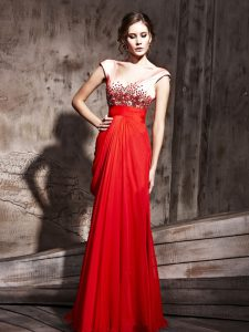 Adorable Cap Sleeves Backless Floor Length Beading Glitz Pageant Dress