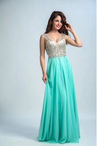 V-neck Sleeveless Chiffon Evening Gowns Beading and Appliques Zipper