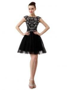 Black Tulle Zipper Pageant Dress Sleeveless Knee Length Beading