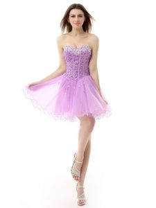 Lilac A-line Sweetheart Sleeveless Organza Knee Length Lace Up Beading Pageant Dress for Girls